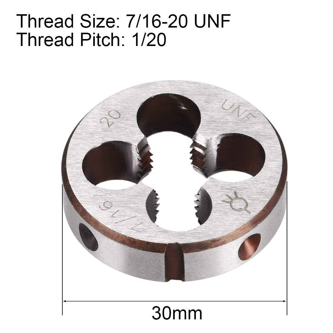 High Speed Steel uxcell 7//16-20 UNF Right Hand Round Die Machine Thread Die HSS Threading Die Screw Die Tool