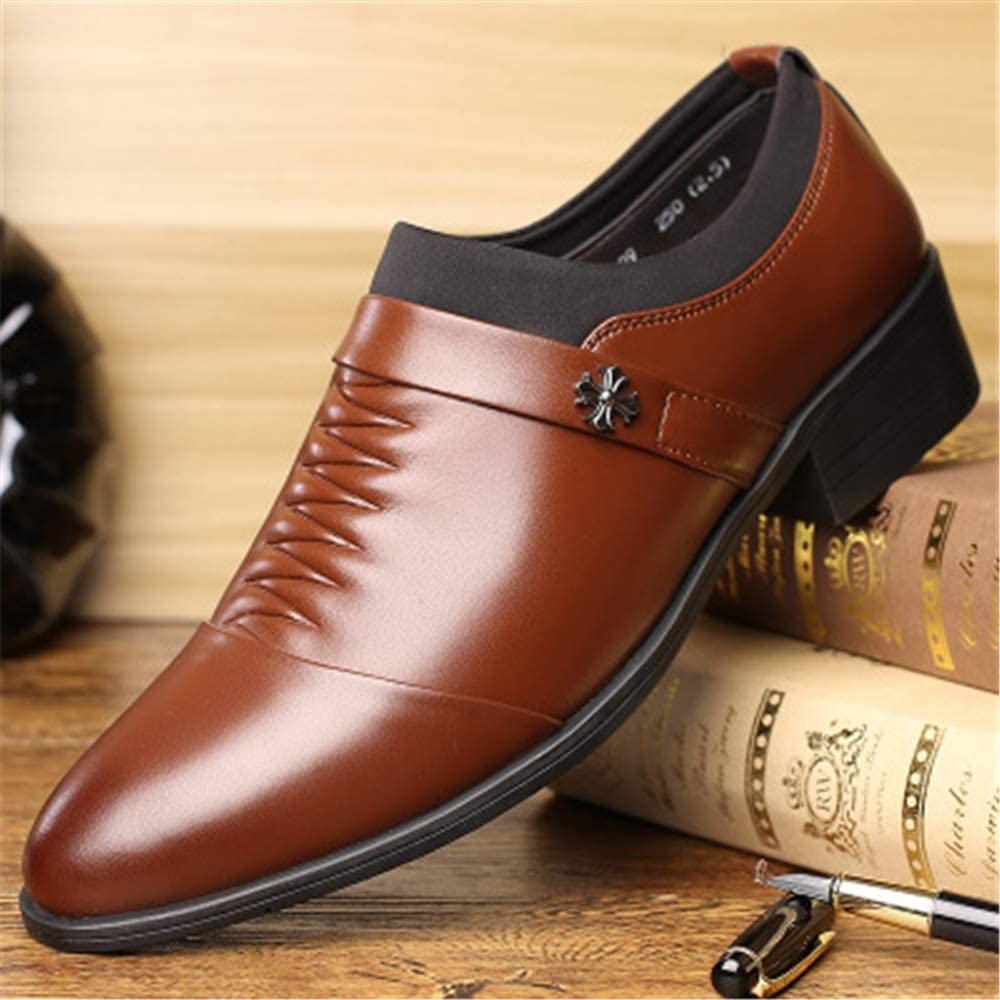 Oxford Shoes for Men Leather Tuxedo Pointed Toe Slip-on Loafer Mens Dress Shoes