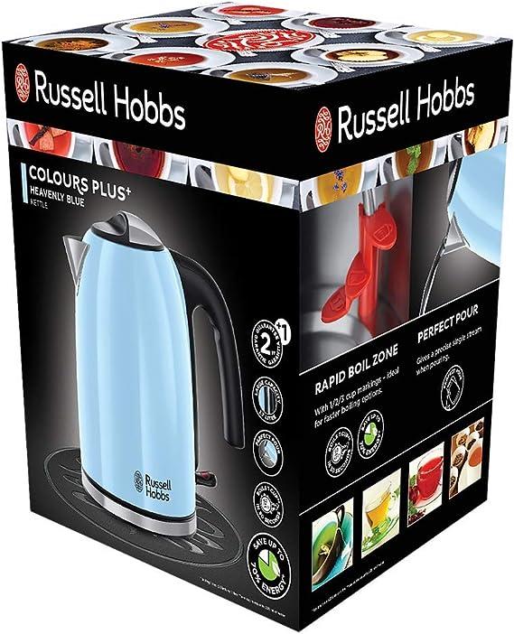 Russell Hobbs Colours Plus - Hervidor de Agua Eléctrico (2400 W, 1,7l, Acero Inoxidable, Azul Cielo) - ref. 20417-70: Amazon.es: Hogar