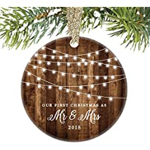 """First Christmas as Mr & Mrs Ornament 2018, Rustic 1st Married Christmas Ornament, First Married, 3"""" Flat Circle Porcelain Ceramic Ornament w Glossy Glaze, Gold Ribbon & Free Gift Box   OR00300 Delfino"""