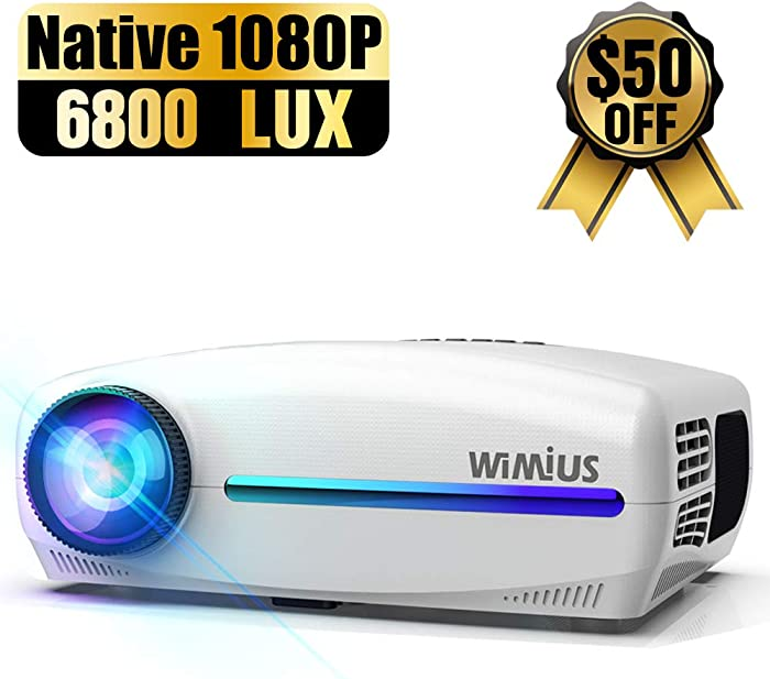 WiMiUS Native 1080P Projector Upgrade 6800 Lux Full HD, Support 4K Dolby Sound w/ 10W Speaker & ±50° 4D Keystone Cor, Home LCD Led Video Projector Compatible with TV Stick, PS4, Laptop, Smartphone