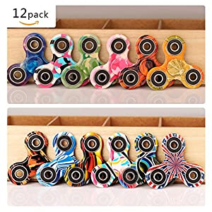 Fidget Spinner 12 Pack ADHD Stress Relief Anxiety Toys Best Autism Fidgets spinners for Adults Children Finger Toy with Bearing Focus Fidgeting Restless Colorful Hand Spin by SCIONE by Toy-colorful-12