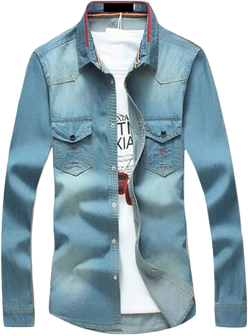 MMCP Men Casual Washed Slim Fit Long Sleeve Button Up Denim Work Western Shirt