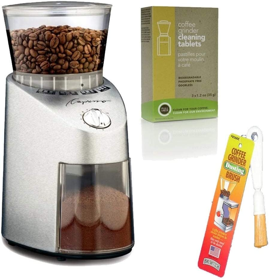 Capresso 565 Infinity Stainless Steel Conical Burr Grinder + Coffee Grinder Dusting Brush + 3-pack 35G Grindz Coffee Grinder Cleaner by Capresso: Amazon.es: Hogar