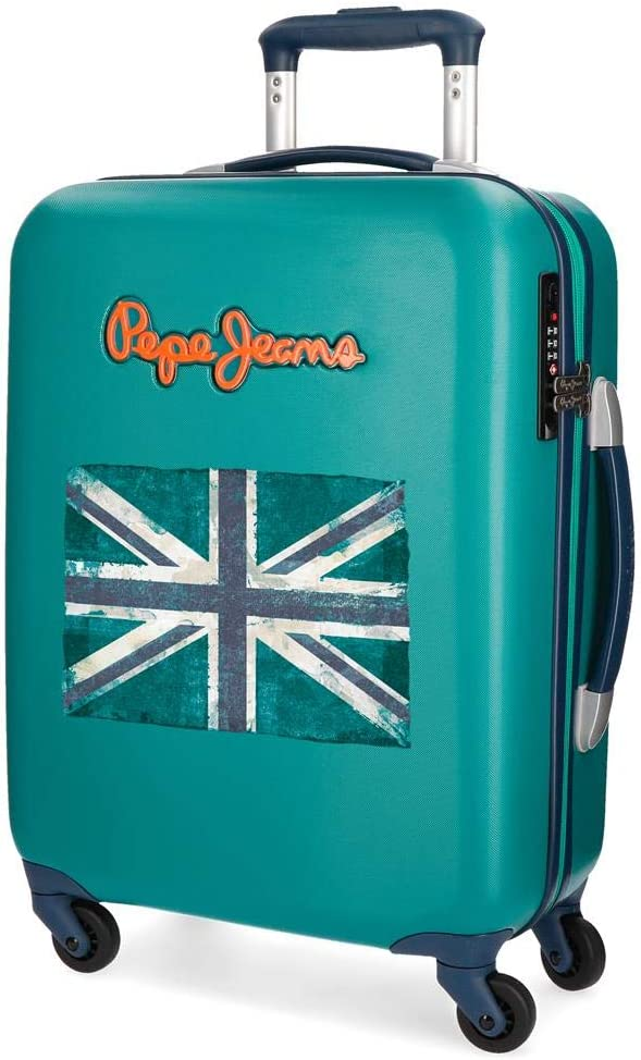 Maleta de Cabina Pepe Jeans Bristol Verde con Bandera rígida 55cm