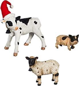 Evergreen Garden Beautiful Decorative Seasonal Farm Animals Garden Statue, Set of 3-12 x 7 x 16 Inches Fade and Weather Resistant Indoor/Outdoor Decoration for Homes, Yards and Gardens
