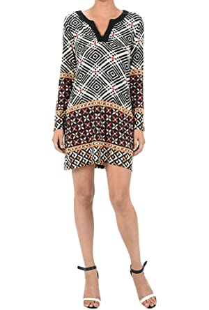 a9fdd70d8420 Aryeh geometric long sleeve dress (L) at Amazon Women s Clothing store