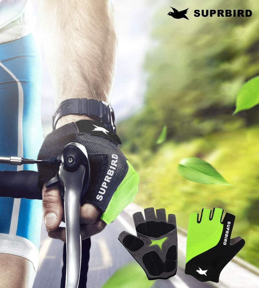 SUPRBIRD Gants V/élo Homme /Ét/é Demi-Doigts Gants de Sports pour VTT Velo Escalade Fitnesse Gym Confort Respirant Antichoc Antid/érapant