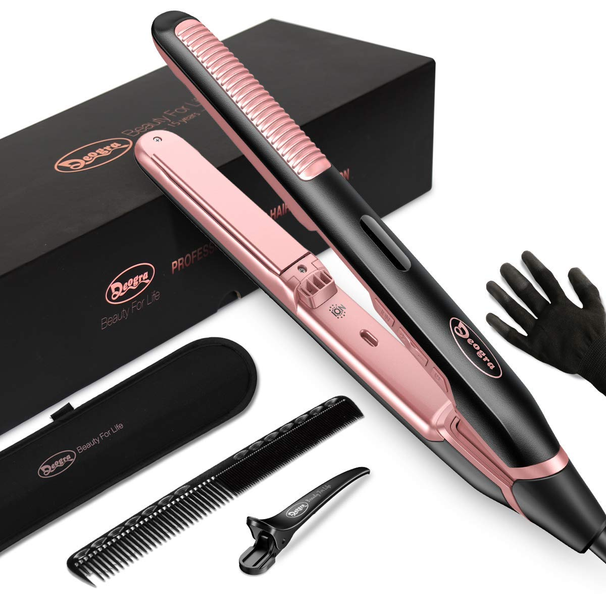 Deogra Ionic Flat Iron for Voltage Dual Hair Curling Genuine Charlotte Mall