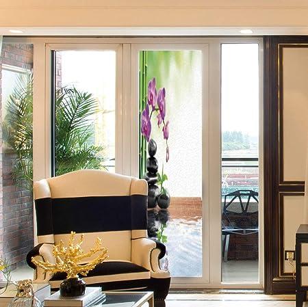 Película Decorativa para Ventana, decoración de SPA, para Dormitorio, Sala de Estar, Cocina, orquídea de Arena y Piedras de Masaje en el jardín Zen: Amazon.es: Hogar