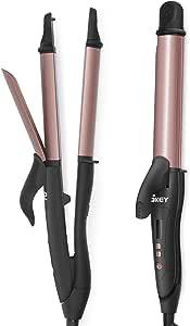 SKEY Rizador Pelo Plancha, 15S to 100C° Alisador y Rizador 2 en 1, 32mm Plancha de Pelo Profesional, 100-220C° Placas de Cerámica de Turmalina, Rosado