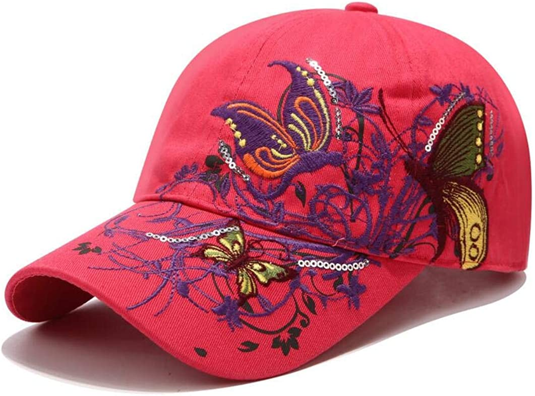 XibeiTrade Womens Baseball Cap Lady Butterfly Flower Embroidery Design Fashion Hat Adjustable Breathble