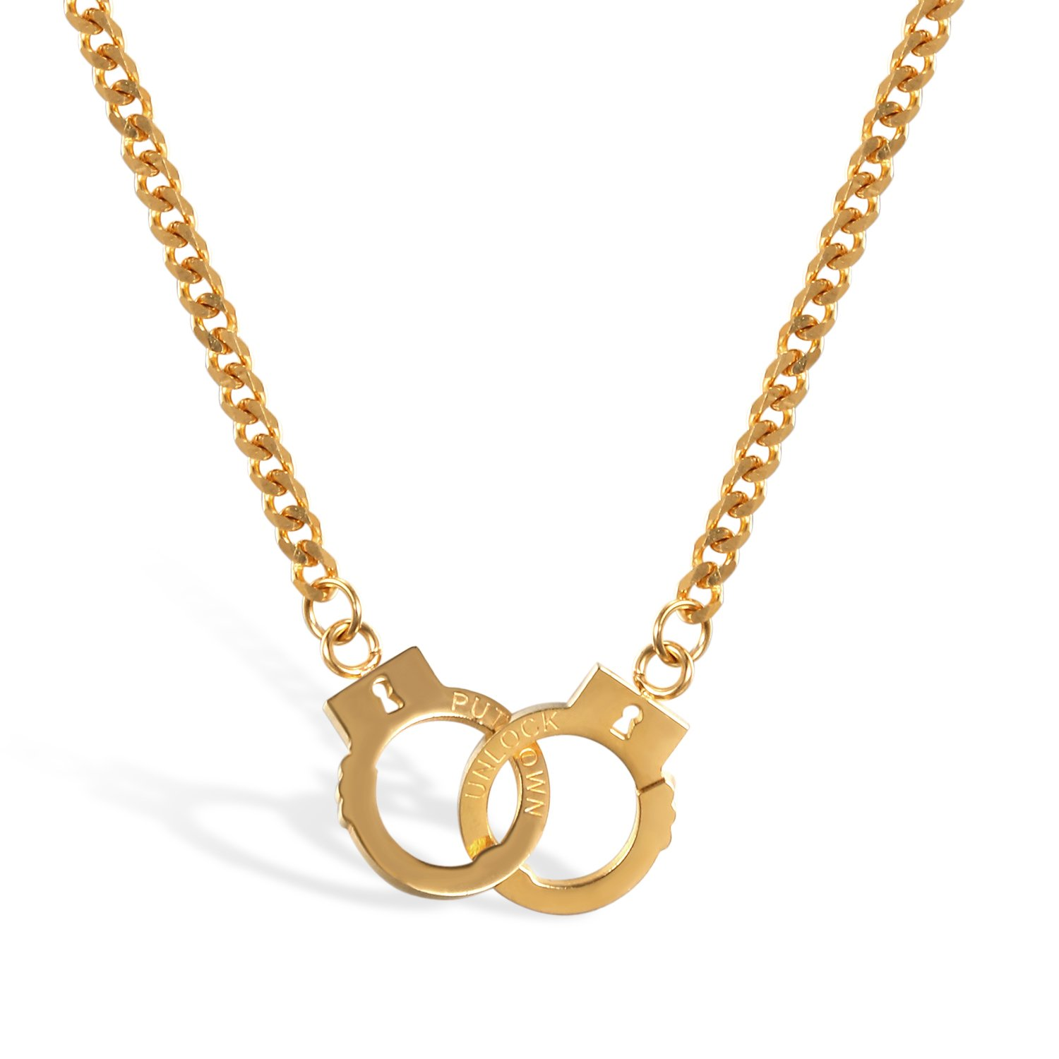JewelryWe Unisex Handcuffs Charm Pendant Stainless Steel Link Chain Necklace for Men Women JW130P0052