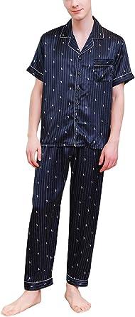 YAOMEI Pijamas para Hombre Satén Largo, 2019 Hombre ...