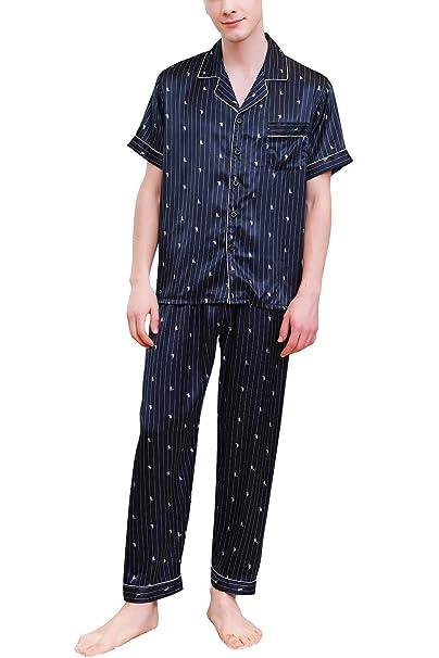mejores zapatillas de deporte 8964f 66319 YAOMEI Pijamas para Hombre Satén Largo, 2019 Hombre ...