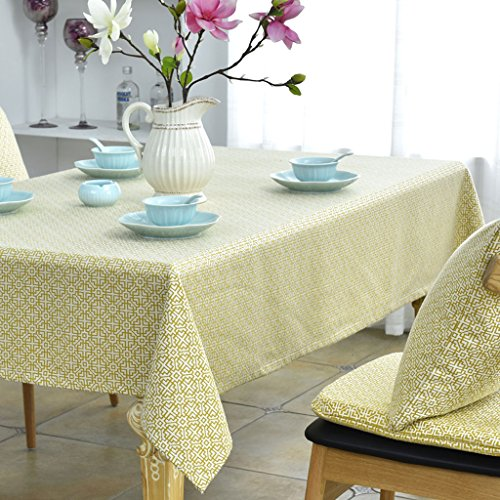 (FJH Tablecloth Yellow Retro Grain Pattern Tablecloth Western Restaurant Living Room Dining Table Cloth Round & Square Coffee Table Cover (Size : Diameter 160cm (Round)))