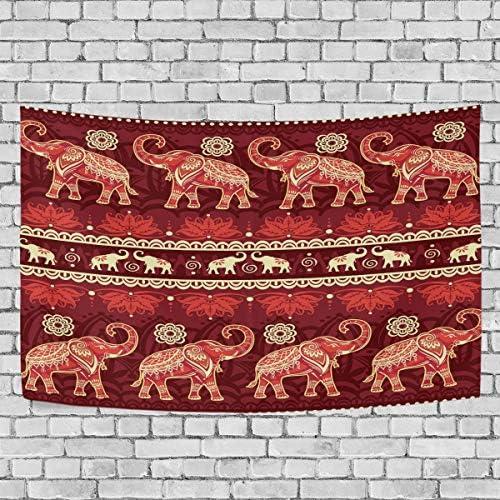 ALAZA Tribal Indian Ethnic Elephants Vintage Art Tapestry Wall Hanging for Living Room Dorm Bedroom Home Decor