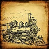 Vintage Poster Print Steam Engine Locomotive Retro Transportation Antique Train Wall Decor Art15.75'' x 15.75''