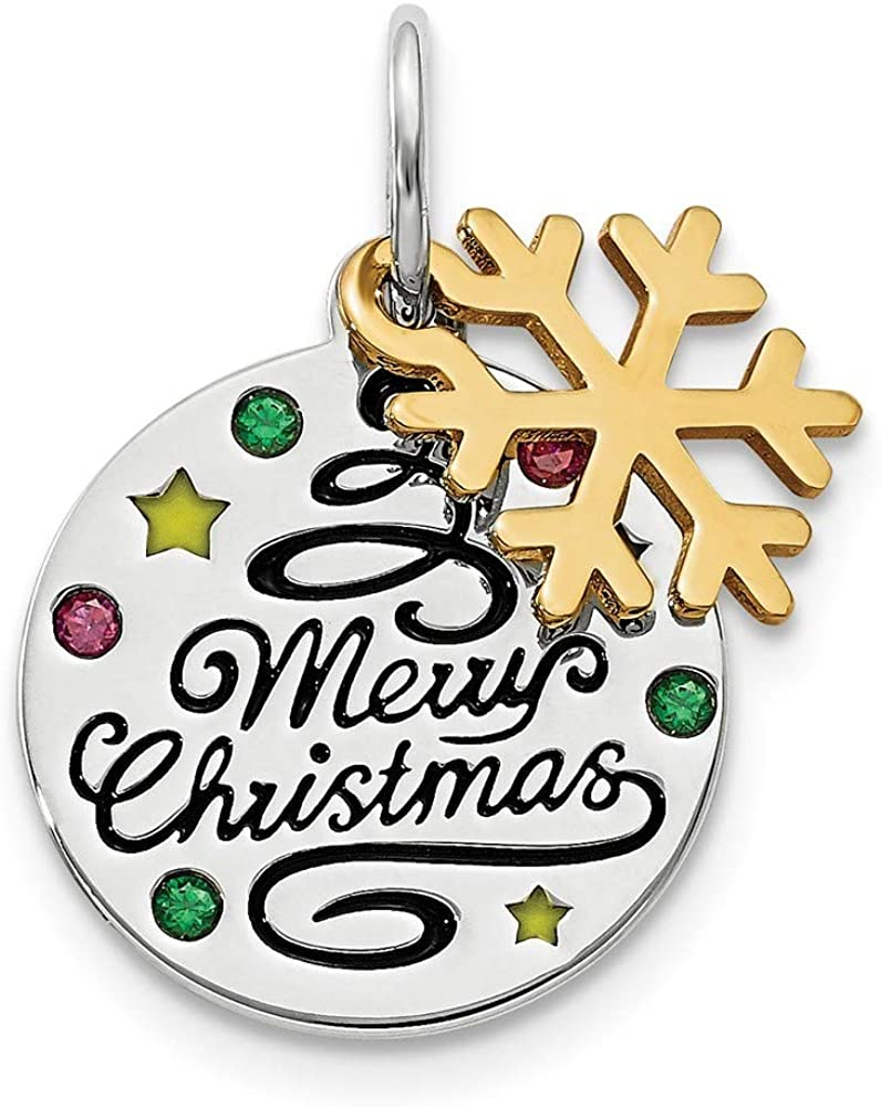 13mm 925 Sterling Silver Gold Tone Enamel Crystal Zirconia Christmas Pendant Necklace Jewelry Gifts for Women