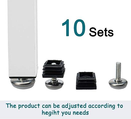 Sourcingmap - Patas de nivelación para patas de mesa, 25 x 25 mm, 10 unidades