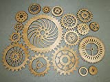 Gears Lot 2, 18 Various Size Wood Wooden Steampunk Wall Art Decor
