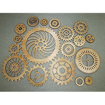 Gears Lot 2, 19 Various Size Wood Wooden Steampunk Wall Art Decor