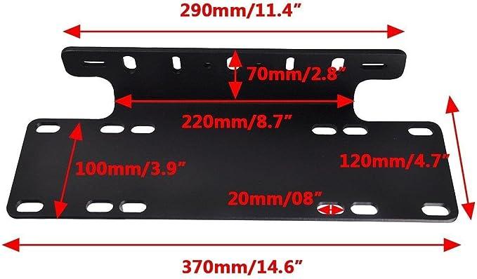 Triclicks Universal Schwarz Kennzeichenhalterung Nummernschildhalter Led Lichtleiste Halter Für Auto Lkw Pickup Suv 4x4 Auto