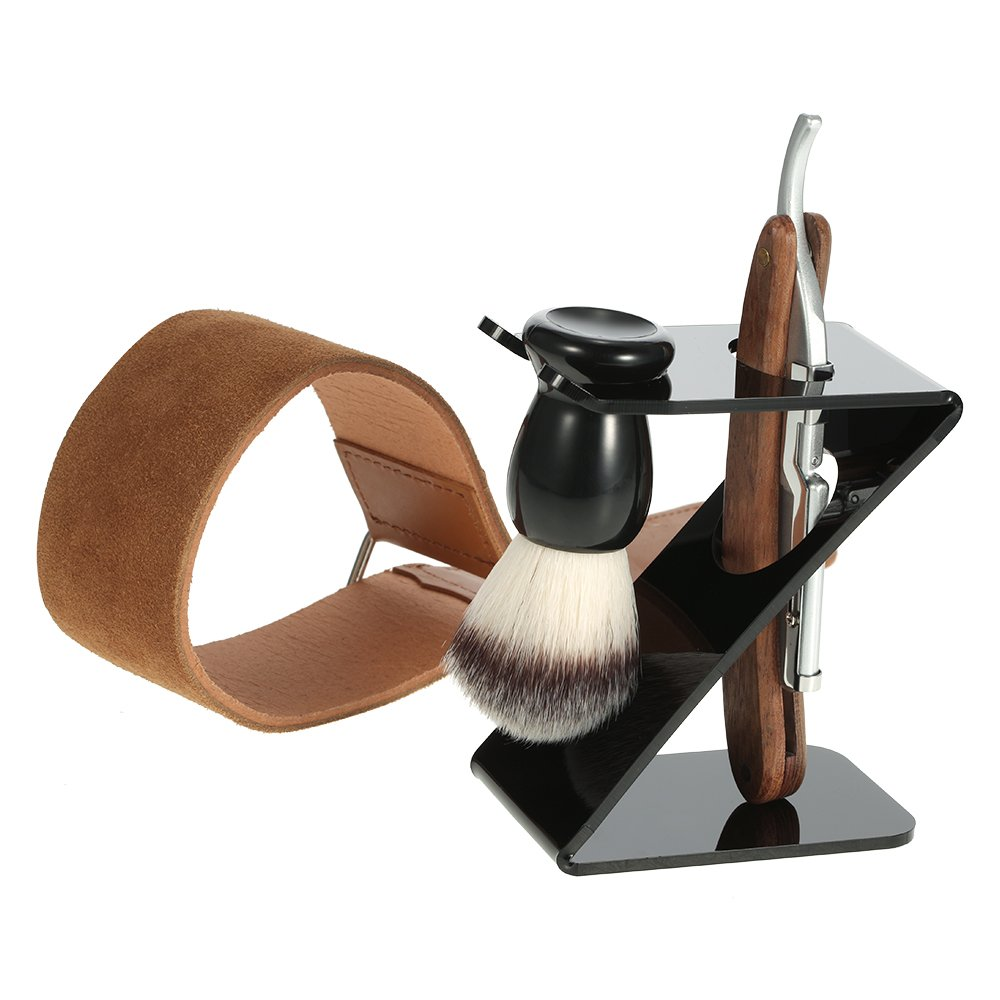 Anself 4 in 1 Straight Razor + Shaving Brush + Brush Stand + Leather Strop Strap Man's Shaving Brush Set