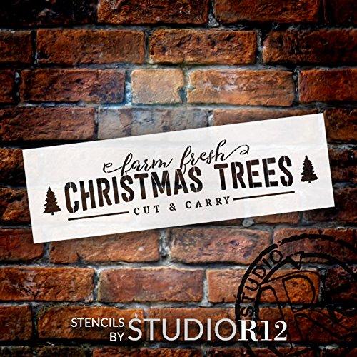 Farm Fresh Christmas Trees - Long - Word Art Stencil - 16