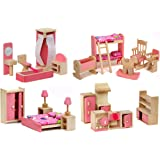 Kids Bedroom ZDYWY Wooden Dollhouse Furniture Set Pretend Play Toy for Kids Baby Girl