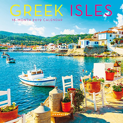 Graphique Greek Isles Mini Wall Calendar, 16-Month 2019 Wall Calendar with Historic Grecian Landmark Photographs, 3 Languages & Major Holidays, 2019 Calendar, 7