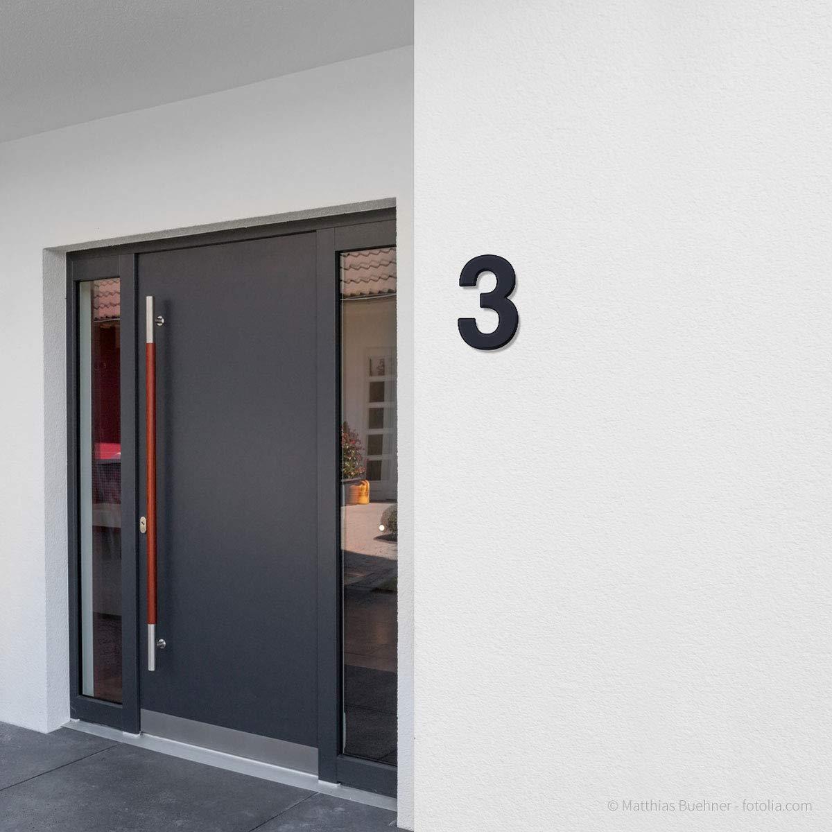 grau 30cm 2 Thorwa/® Design V2A Edelstahl Hausnummer Feinstruktur beschichtet RAL 7016 anthrazit