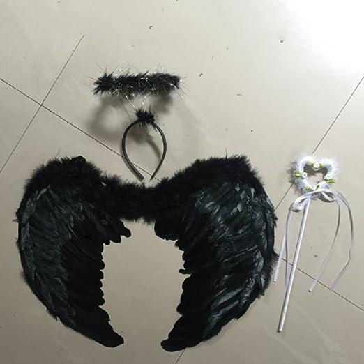Wingbind Juego de Plumas de ángel + alas de ángel + halo, Disfraz ...