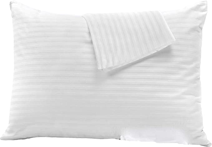 Amazon Com 2 Pack Pillow Protectors Standard 20x26 Hypoallergenic 100 Cotton Sateen Tight Weave 3 4 Micron Pore Size High Thread Count 400 Style Zippered White Hotel Quality Standard 2 Pack Cotton Sateen Home Kitchen