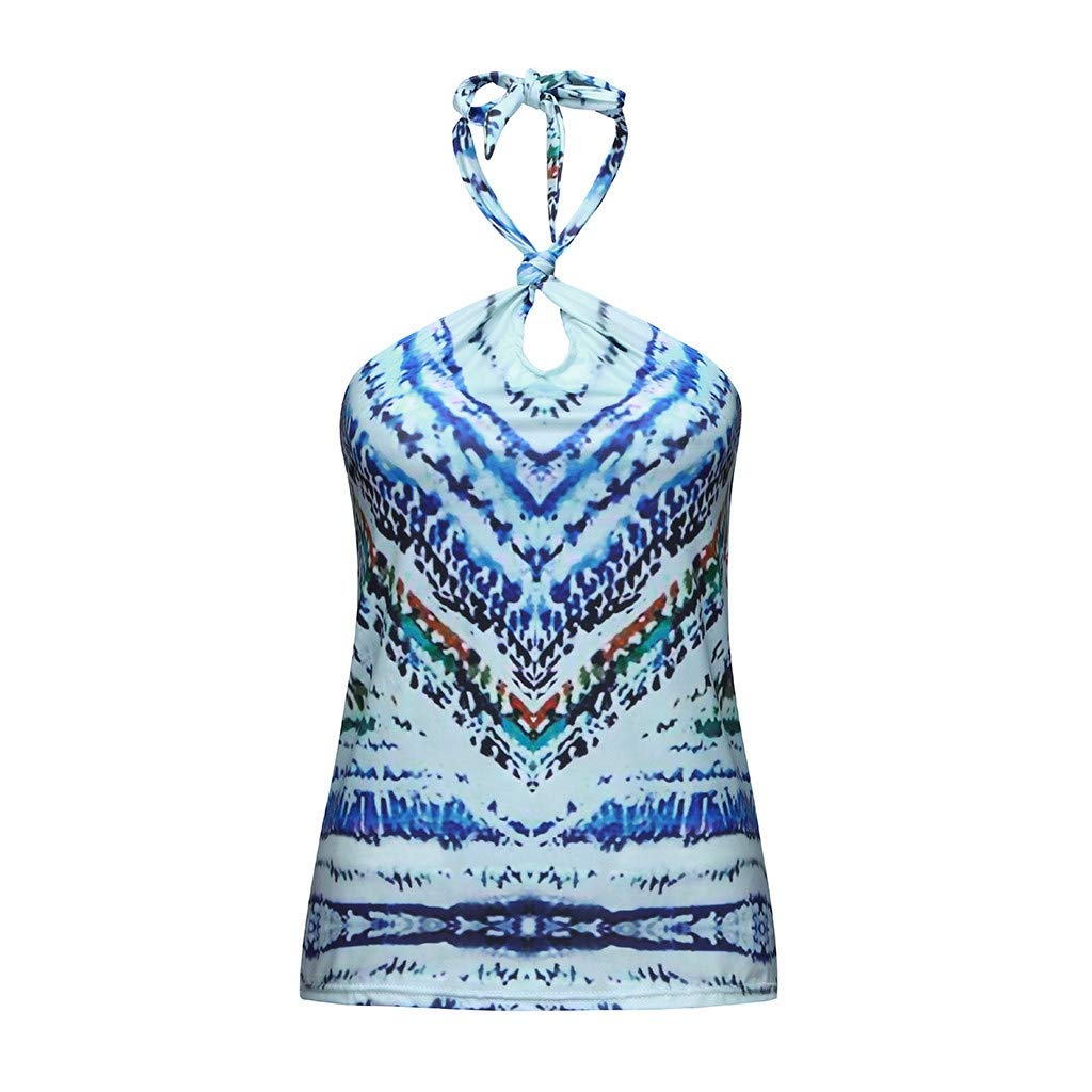 Fashion Tops, Women Casual Retro National Style Sleeveless Hanging Neck Tee Shirt Tops Cropped Summer Tops Blue L