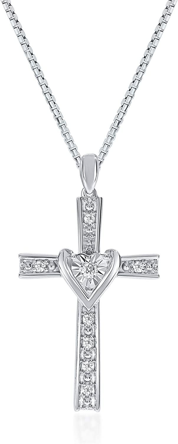 La Joya 1/15-1/4 Carat (ctw) Lab Grown Diamond Heart Necklace - White Rhodium Plated .925 Sterling Silver With Adjustable Chain - GH Color SI Clarity - Various Heart Pendants to chose from