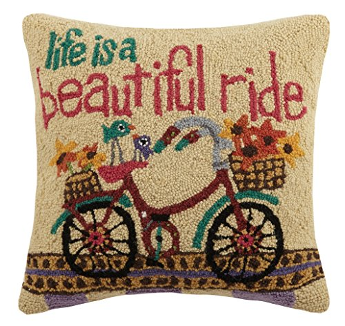 Peking Handicraft Life is a Beautiful Ride Hook Pillow, Multicolored
