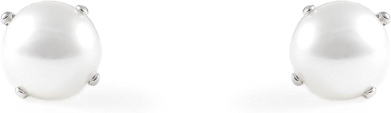 Monde Petit AG-1379 - Pendientes de bebe/niña plata de Perla 6 mm