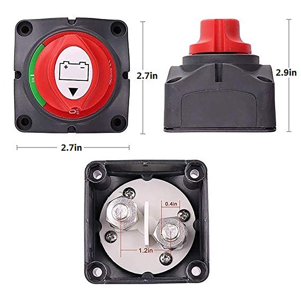 DEDC1 Piece Battery Disconnect Switch 12V//24V//48V Battery Isolator Switch Master Power Cut Off Kill Switch Waterproof Marine Switch for Car RV Boat Truck ATV Vehicles