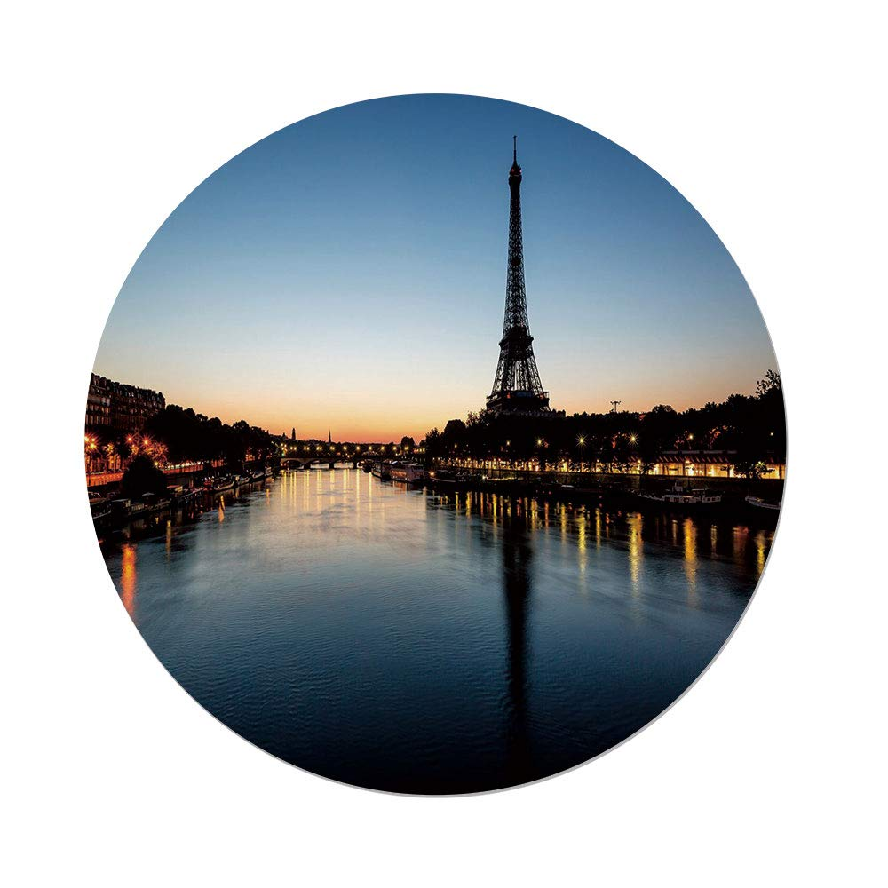 Polyester Round Tablecloth,Night,Eiffel Tower at Twilight Travel Destination Tourist Attraction Famous Monument,Light Blue Yellow,Dining Room Kitchen Picnic Table Cloth Cover Outdoor Indoor