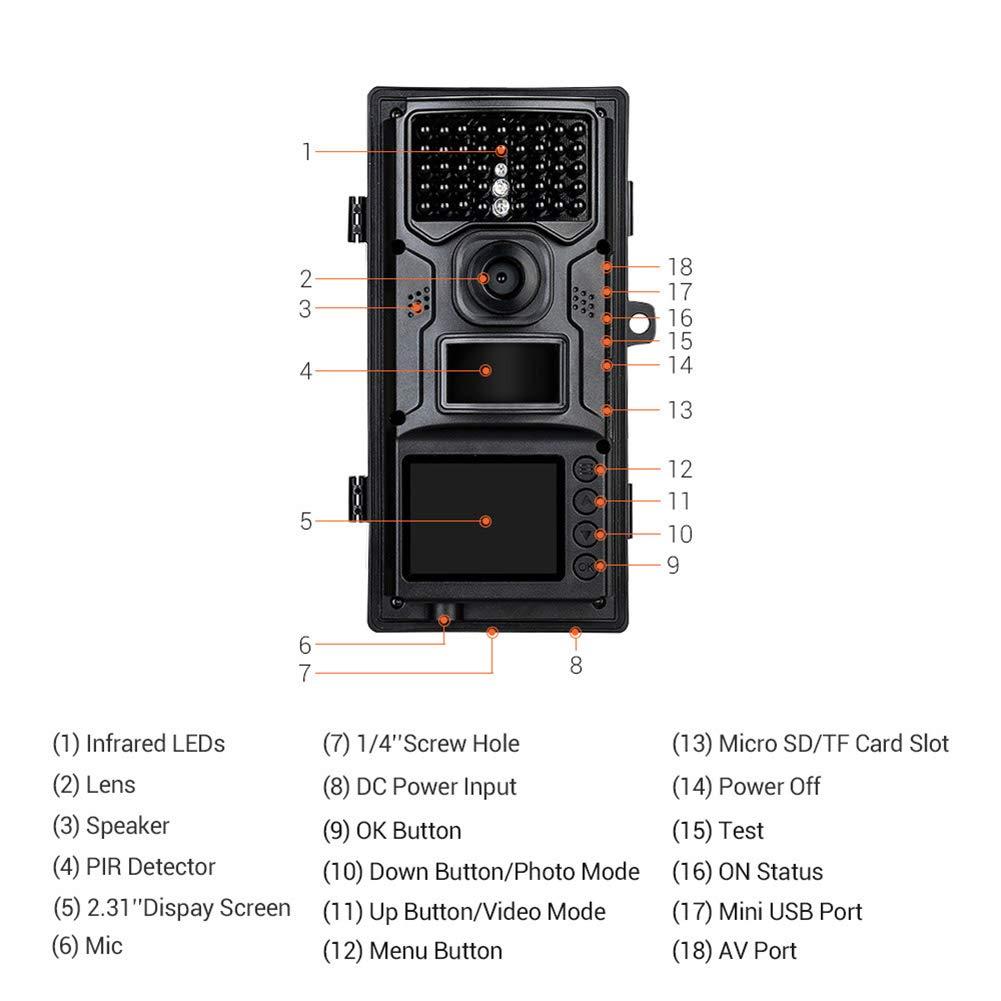 YMXLJJ Cámara De Caza Al Aire Libre 12MP1080P 0.3 Segundos Súper Rápido Disparo De 2,31 Pulgadas LCD Cámara Puede Grabar Sonido Bosque Monitoreo Animal ...
