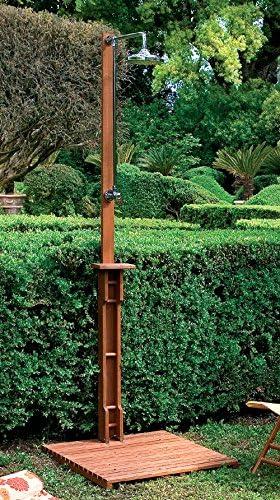 LuxuryGarden - Ducha de exterior de madera de balau con plataforma y alcachofa para piscina: Amazon.es: Jardín