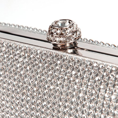 Bolsa rigida imitacion decoracion para metalica R Billetera Bolso diamante de mano de chica Plateado TOOGOO mujer f54wgqHx