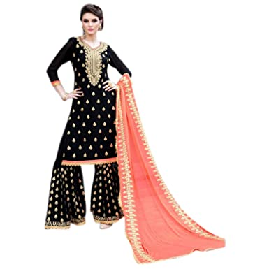 6a01f8b368 Amazon.com: stylishfashion Indian/Pakistani Ethnic wear Georgette Plaazo Salwar  Kameez Designer Fashionable Party wear Suit for Women: Clothing