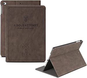 DuraSafe Cases for New iPad 10.2 8th & 7th Gen(Latest Model 2020/2019) Flip Cover with Auto Sleep/Wake Function, Slim Profile & Adjustable Viewing Angle Stand - Coffee