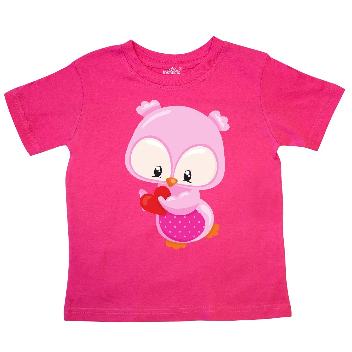 inktastic Cute Owl Holding a Heart Pink Owl Owl Love Toddler T-Shirt