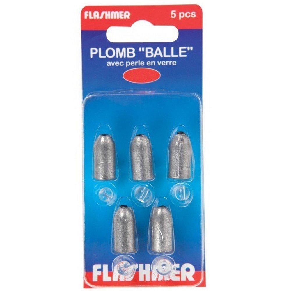 FLASHMER Plomb carnassier balle perc/é avec perle de verre x5