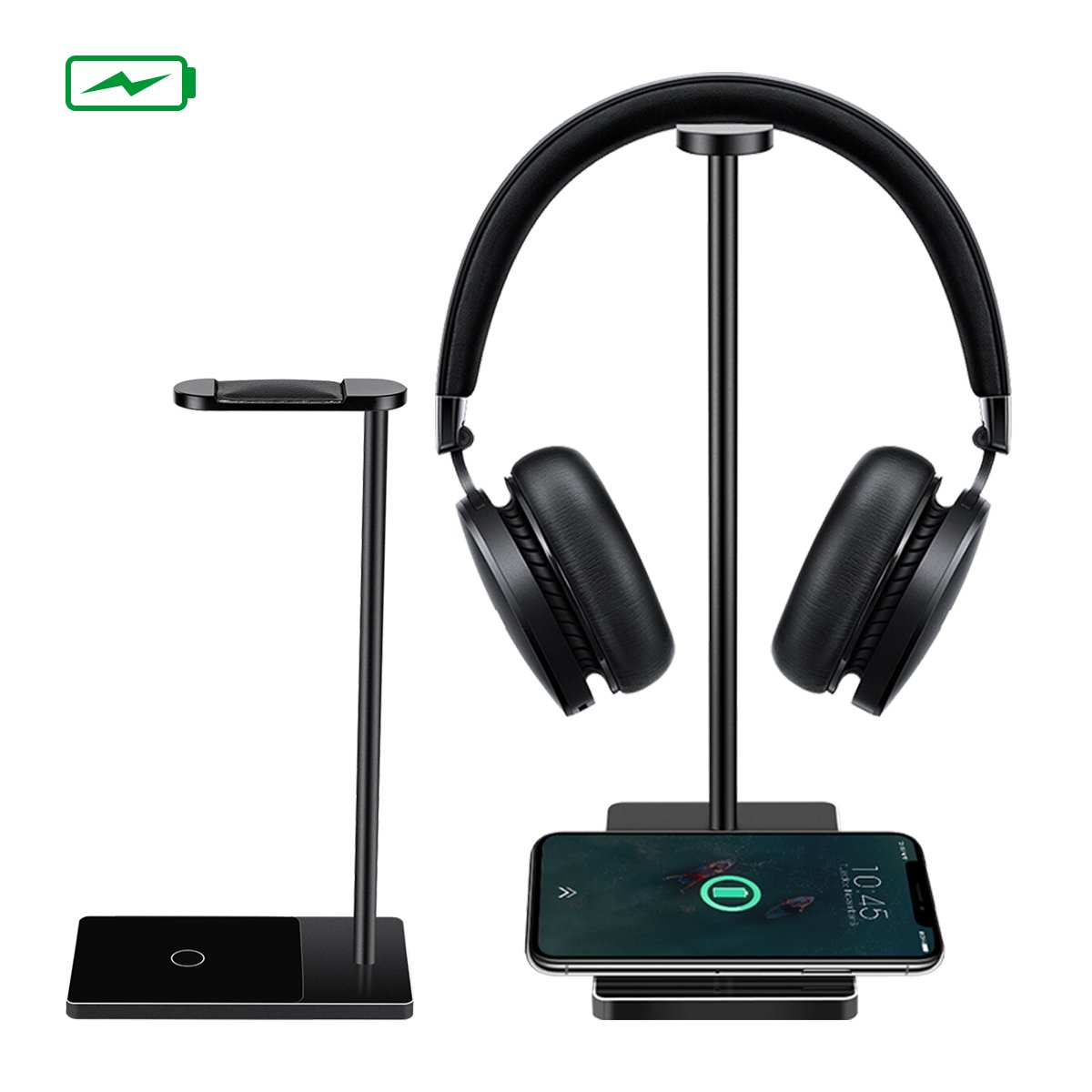 Wireless Charger, MWAY Wireless Charging Headphone Stand Aluminum+ Acrylic Headset Holder for All Headphones Headset Size,High Speed Charging for Galaxy S8/S8+/Note 8 5 S7/LG/HTC/iPhone 8/8Plus/X M WAY M WAYFirstmore2273