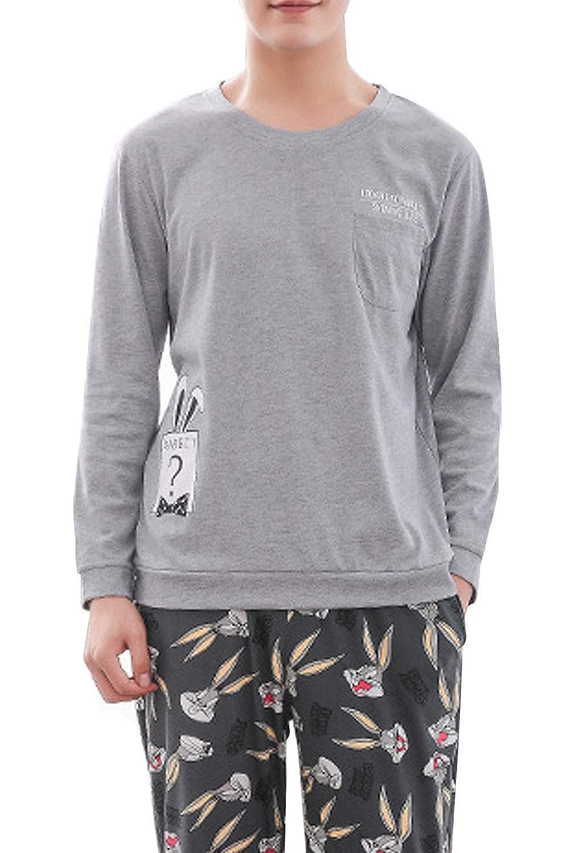 BAIYIXIN Big Boys Pajama Cotton Long Sleeve Sleepwear Top and Bottom