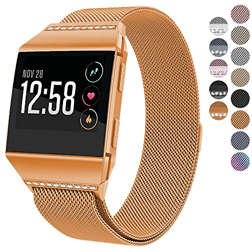 For Fitbit Ionic Bands, hooroor Magnetic Closure Clasp Mesh Loop Milanese Stainless Steel Metal Sport Band Accessories for Fitbit Ionic Smartwatch (Burnt Orange Band with White Diamond, Small)
